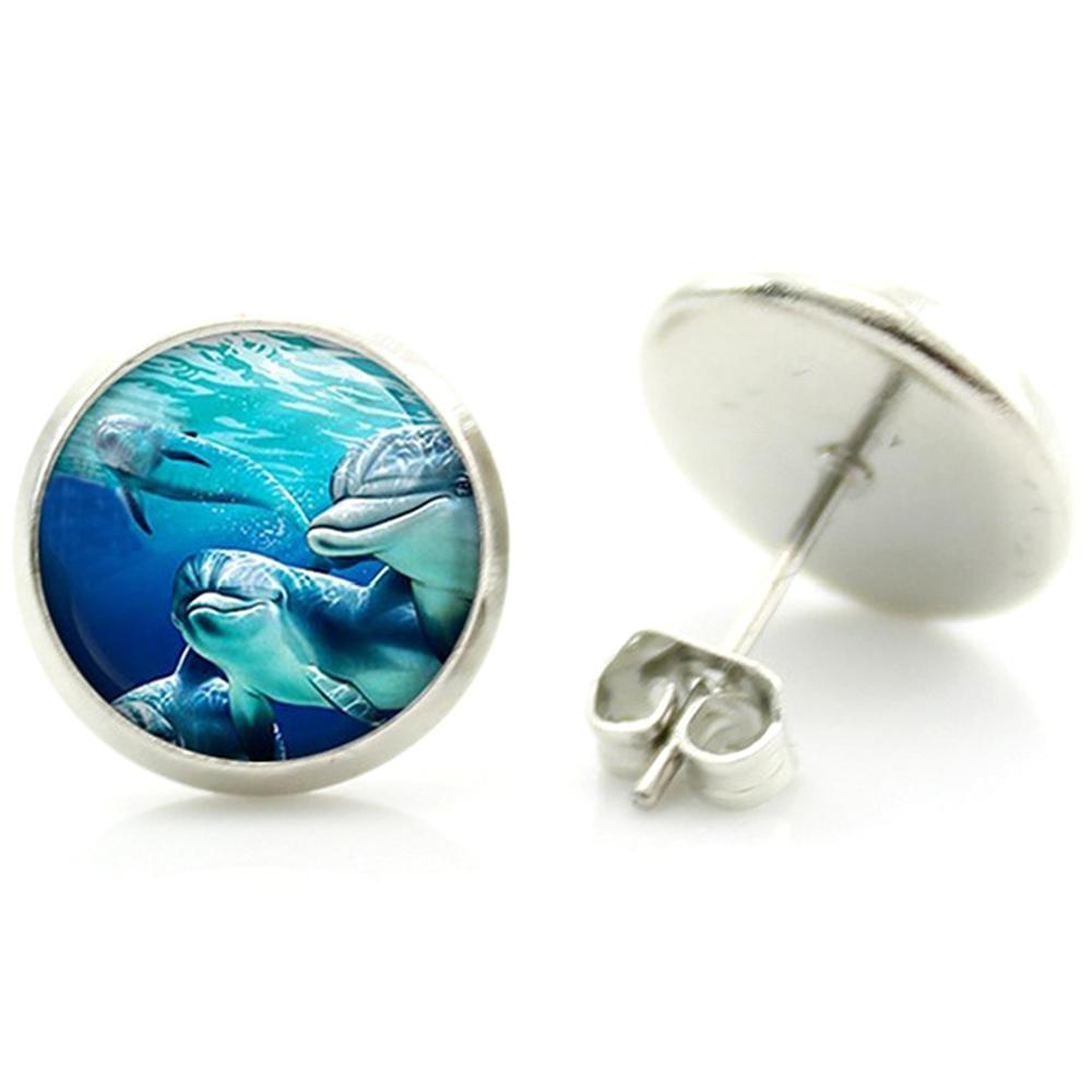 Boucles d'oreille clous acier inoxydable dauphins