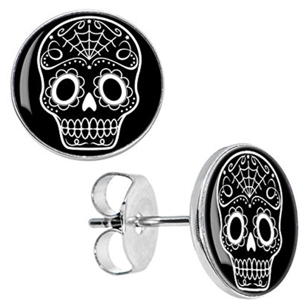 Boucles d'oreille clous acier inoxydable tête de mort mexicaine blanche 1