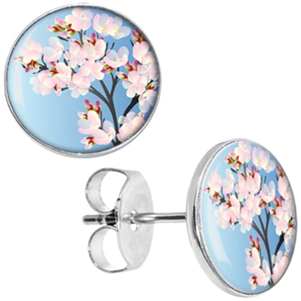 Boucles d\'Oreille Clous Puces Acier Inoxydable - Fleur Cerisier