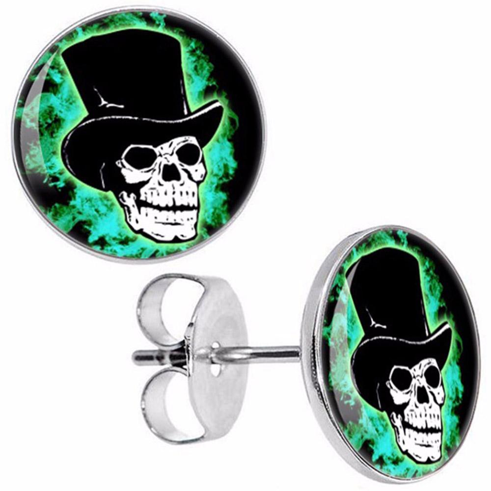 Boucles d'oreille clous acier inoxydable tête de mort chapeau