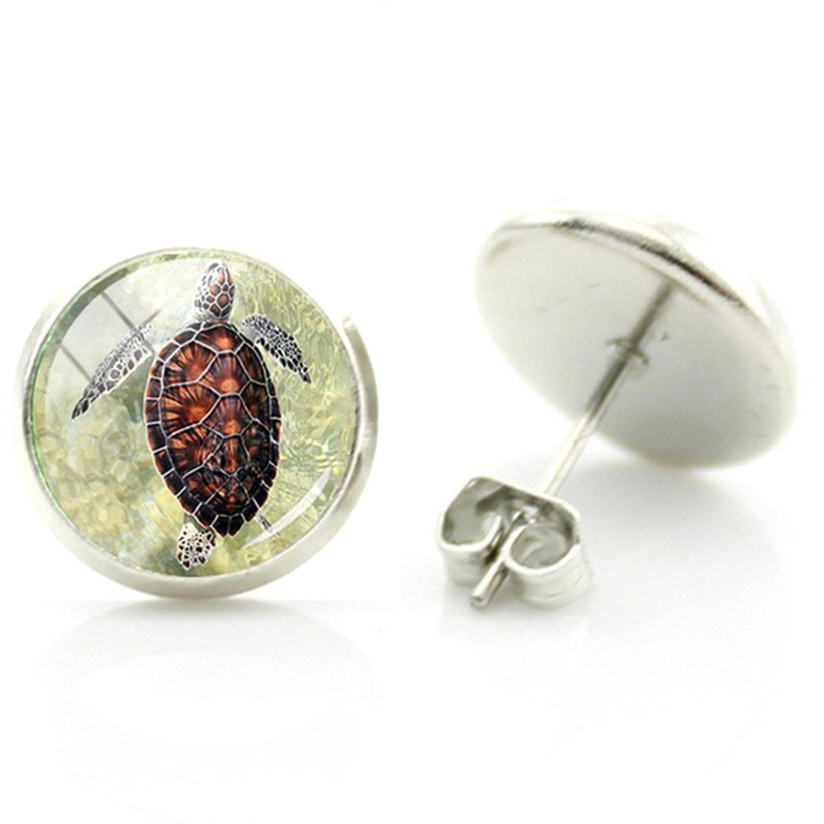 Boucles d'oreille clous acier inoxydable tortue de mer
