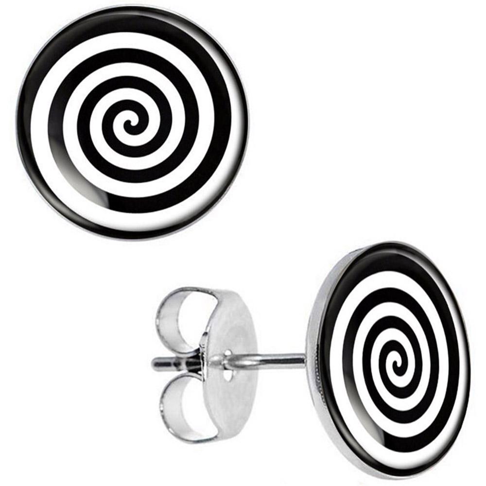 Boucles d\'Oreille Clous Puces Acier Inoxydable - Spirale Noir Blanc