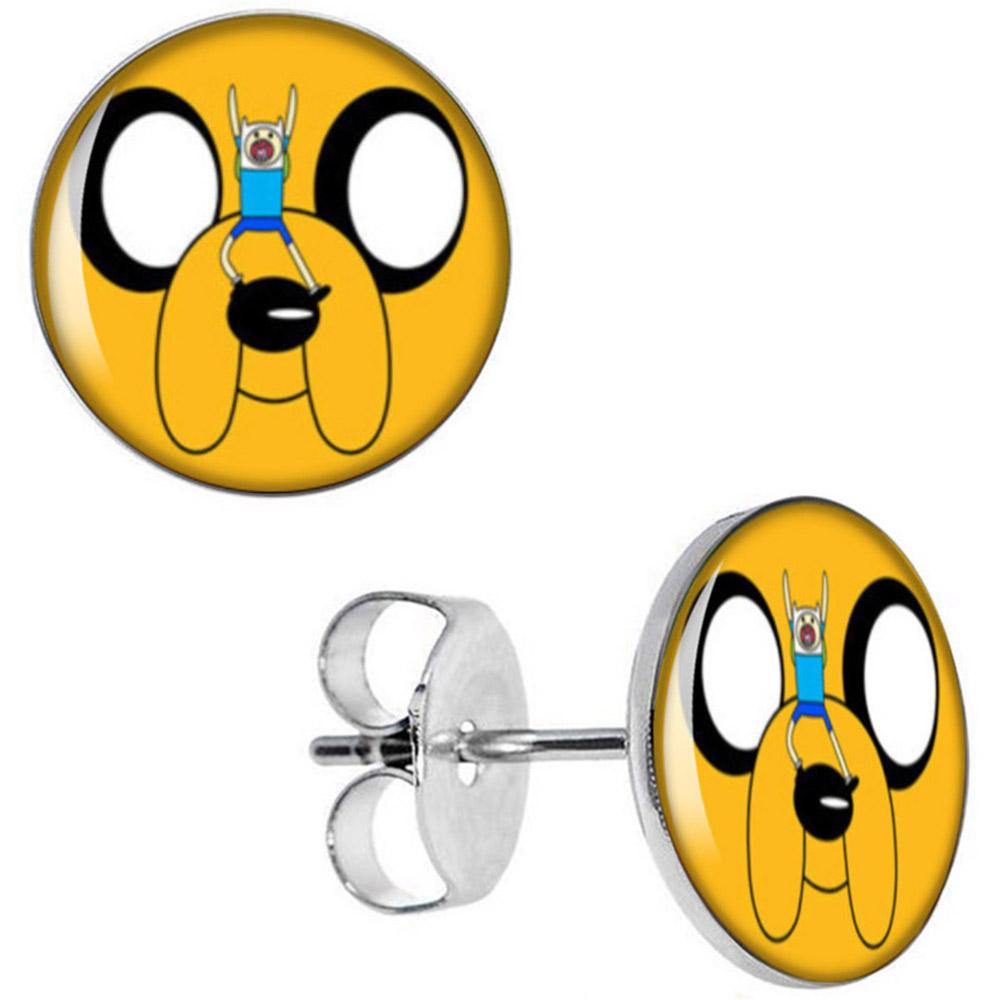 Boucles d\'Oreille Clous Puces Acier Inoxydable - Adventure Time Finn et Jake Chien Cartoon