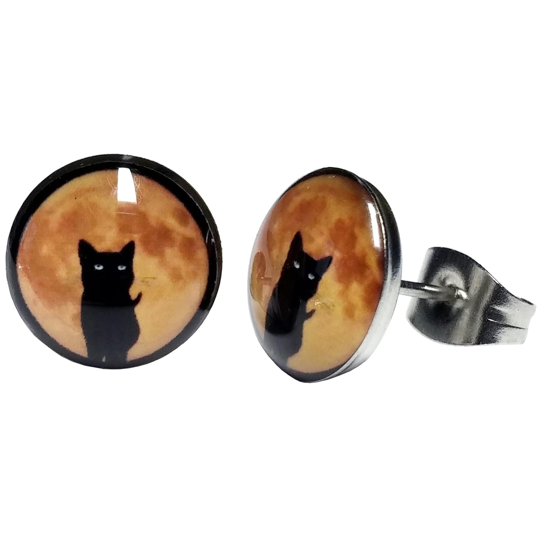 Boucles d'Oreille Clous Acier Inoxydable chat noir sorcière lune orange HD1