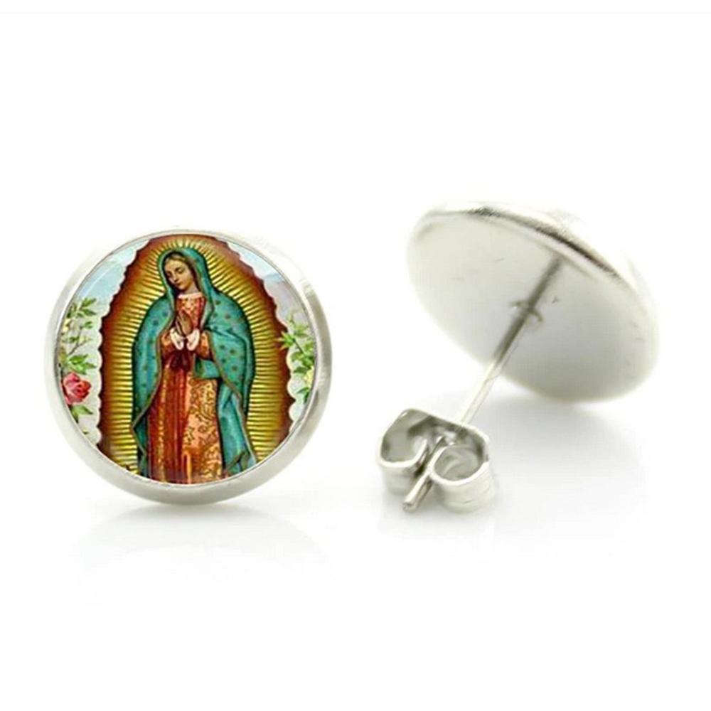 Boucles d\'Oreille Clous Puces Acier Inoxydable - Vierge Marie Mère de Jésus