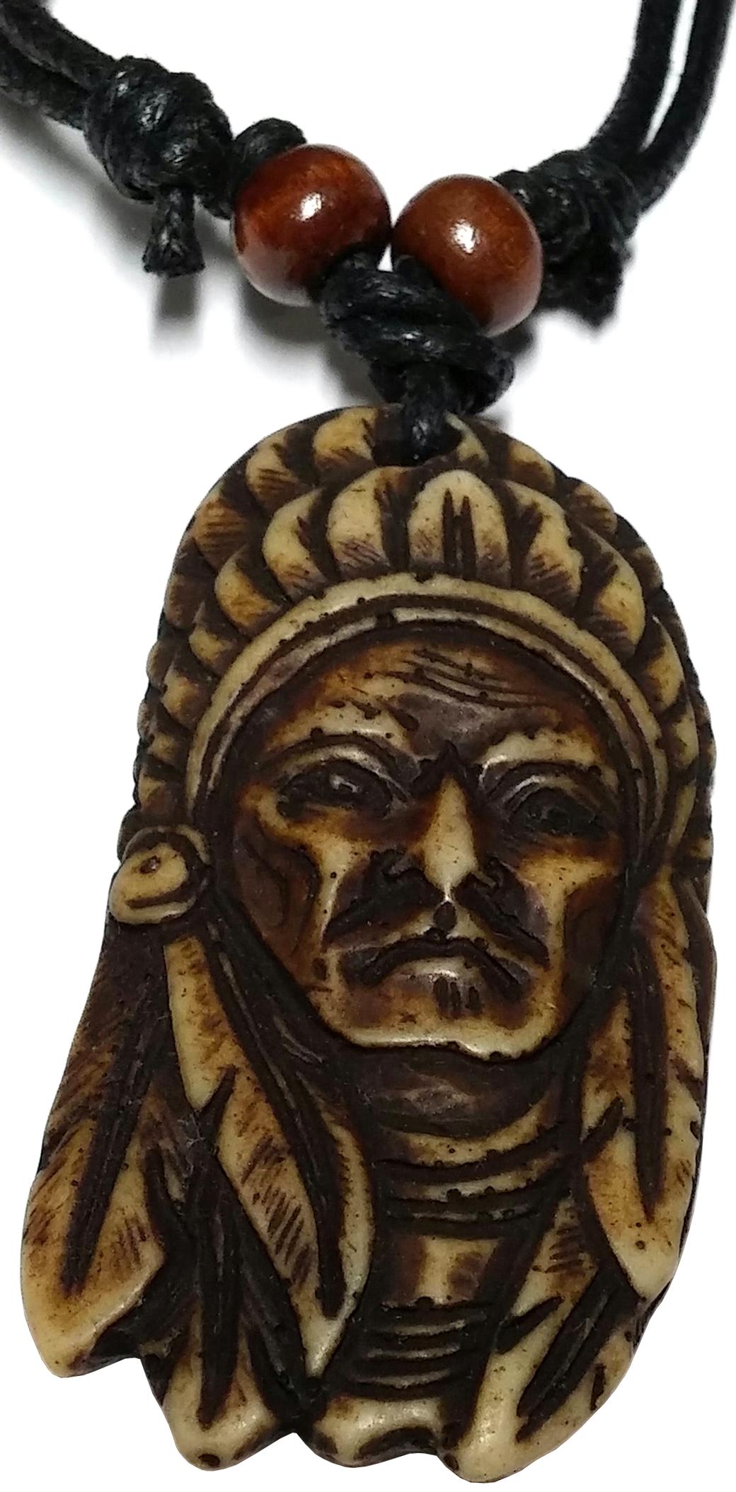 Collier Extensible Pendentif Tête Indien