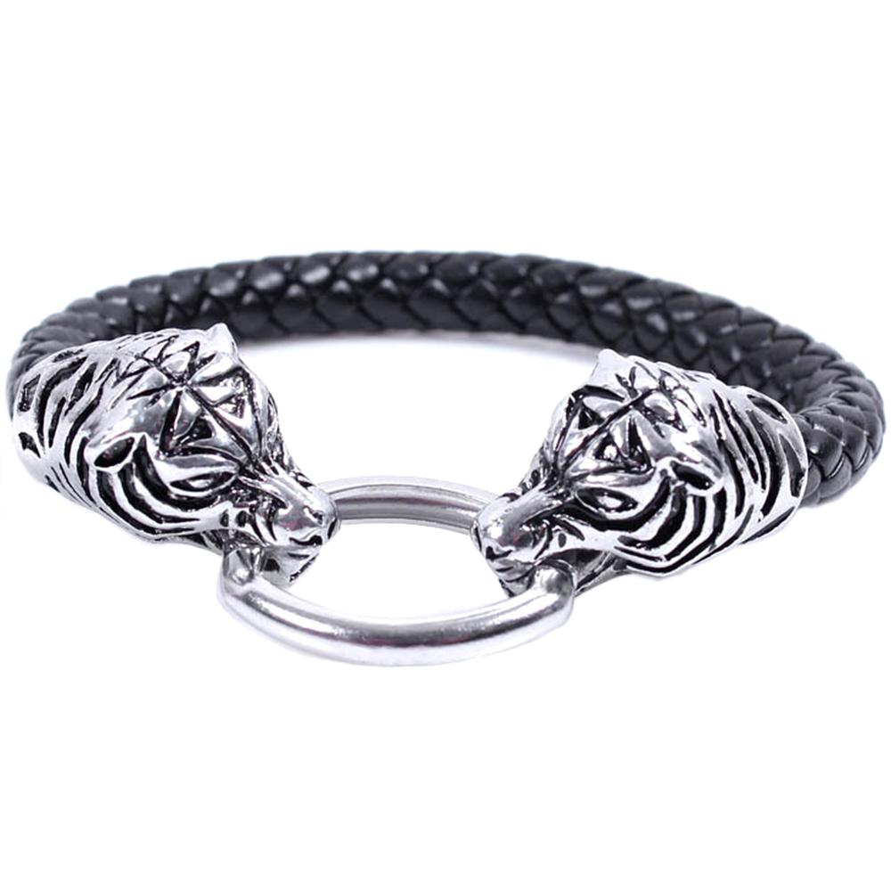 Bracelet en Cuir Tressé Tigre Acier Inoxydable