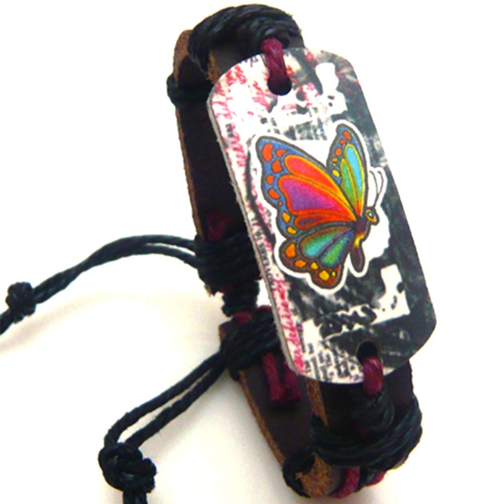 Bracelet Cuir Marron Papillon