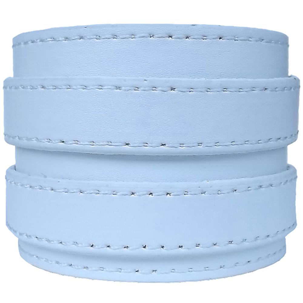Bracelet de Force Double en Cuir Surpiqué Blanc