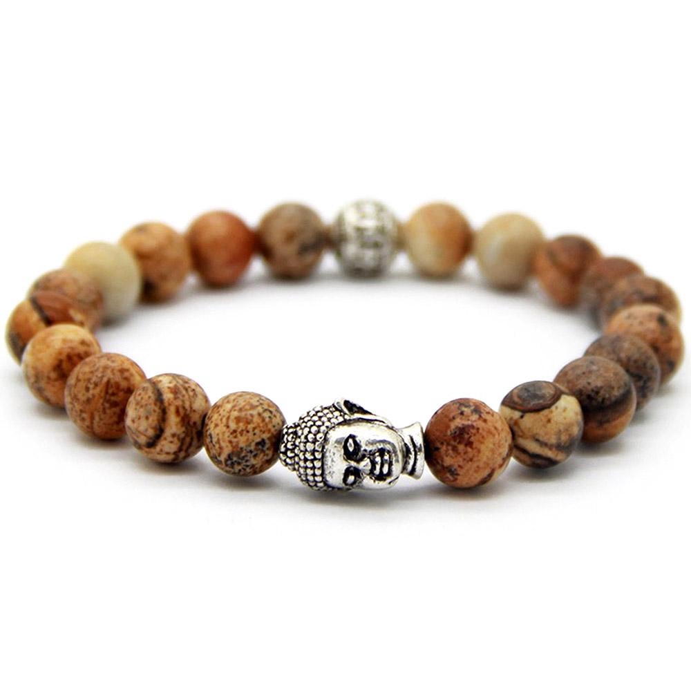 Bracelet Pierre Jaspe Tête de Bouddha