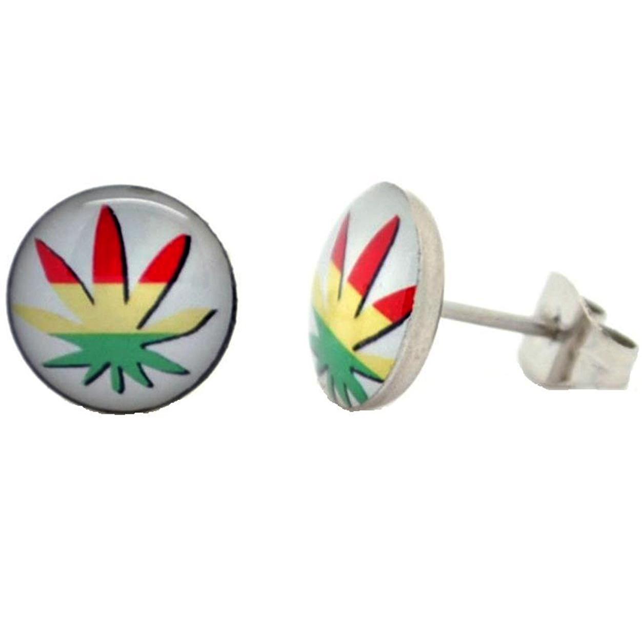 Boucles d'oreille clous acier inoxydable blanc feuille de cannabis