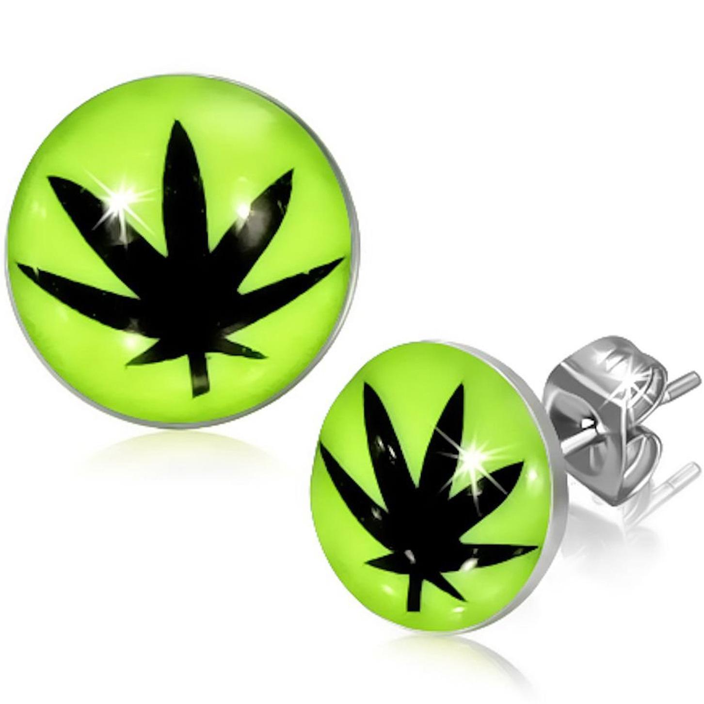 Boucles d\'Oreille Clous Puces Acier Inoxydable Jaune Fluo - Feuille de Cannabis