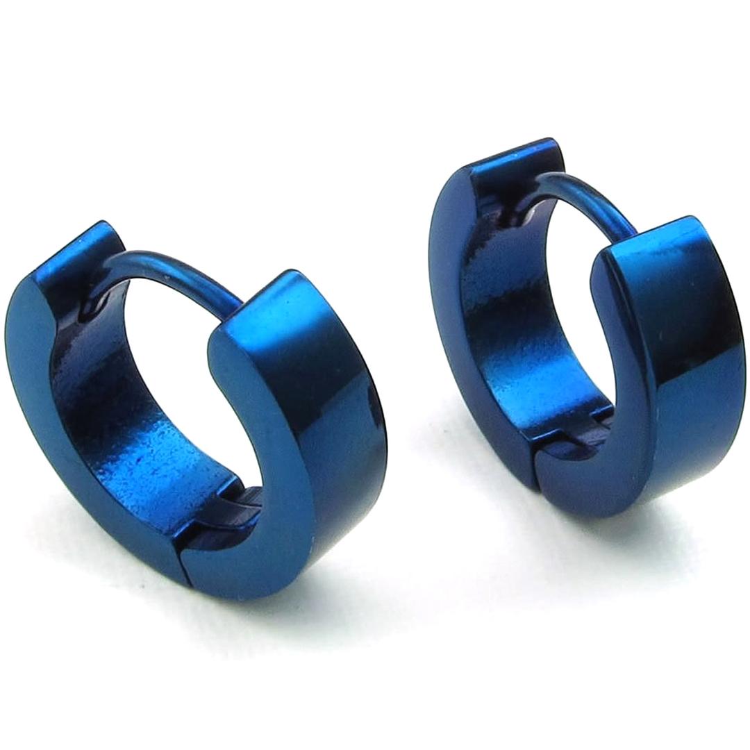 Boucles d\'Oreille Anneaux Créoles Acier Inoxydable Bleu