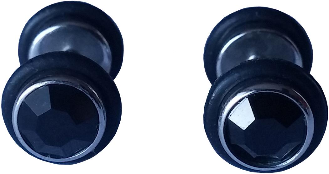 Piercings Faux Écarteurs Plug caoutchouc cubic zirconia noir 8mm