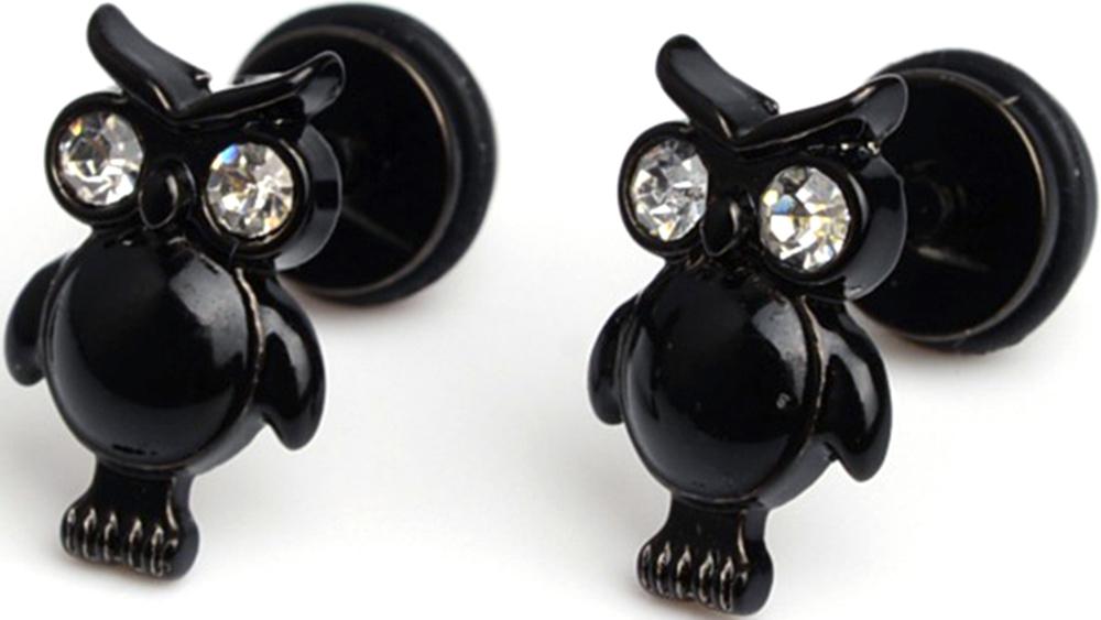 Faux Ecarteur Plug Chouette Noire Cubic Zirconia Anneau Caoutchouc Acier Inoxydable