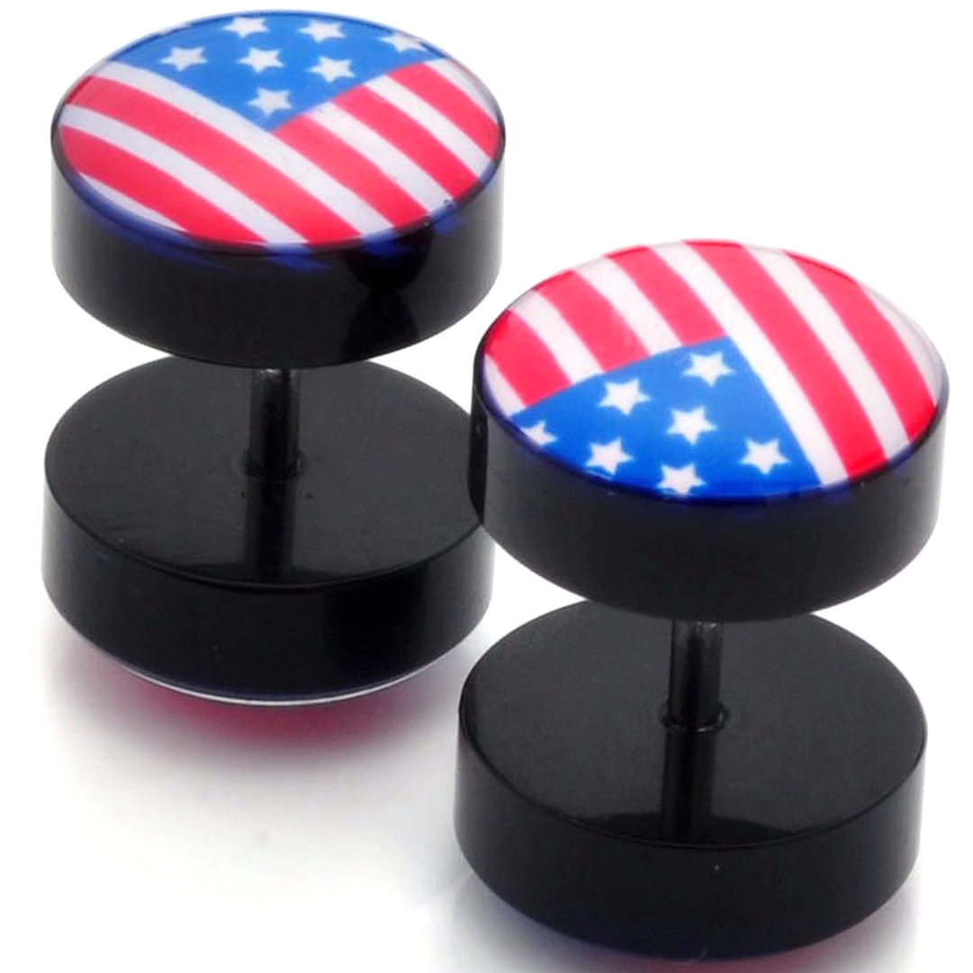 Faux Écarteur Plug Drapeau USA Acier Inoxydable