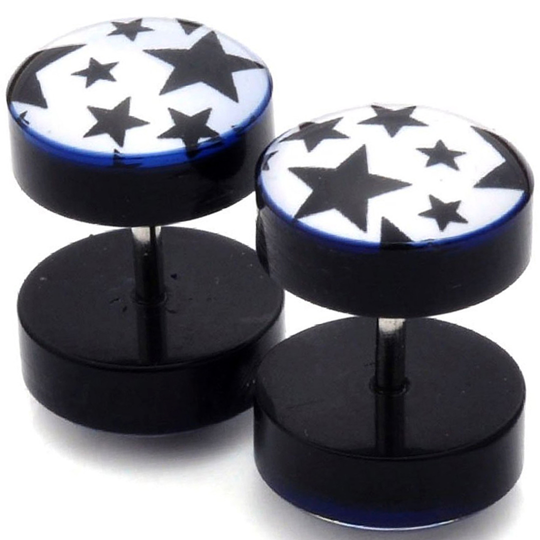 Faux Ecarteur Plug Blanc Étoiles Noires Acier Inoxydable