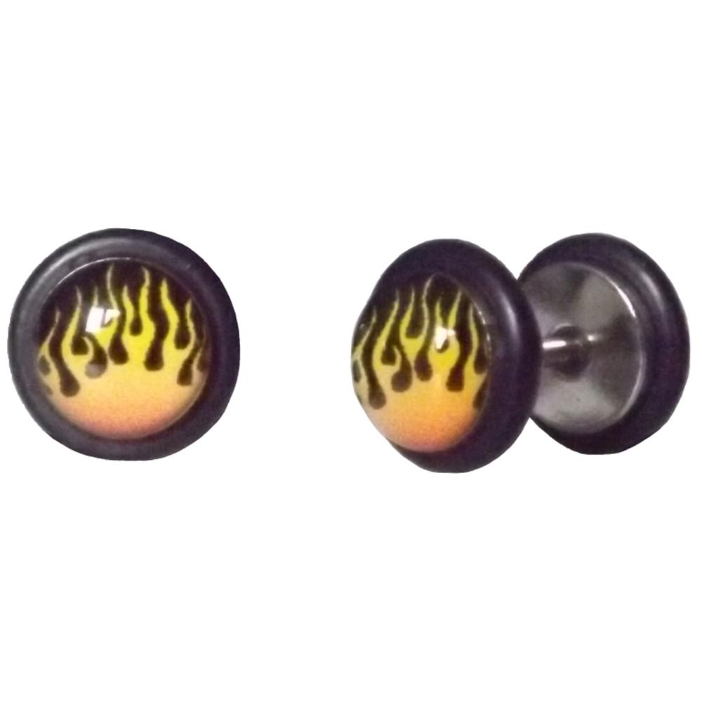 Piercings Faux Écarteurs Plug Flammes Jaunes