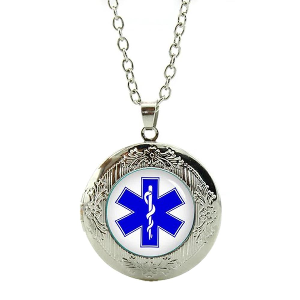 Pendentif Médaillon Étoile de Vie Ambulancier Chaîne Réglable