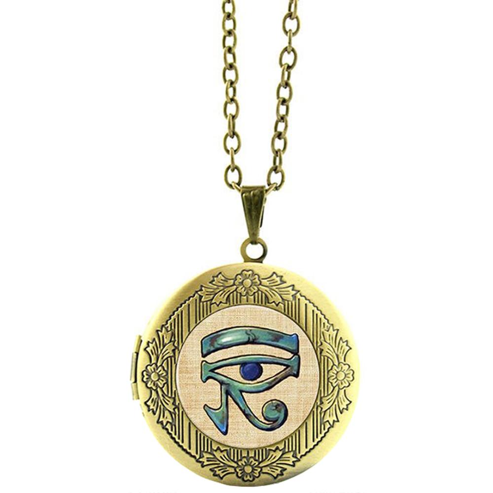 Pendentif Médaillon Bronze Oeil Dieu Faucon Horus Chaîne Réglable