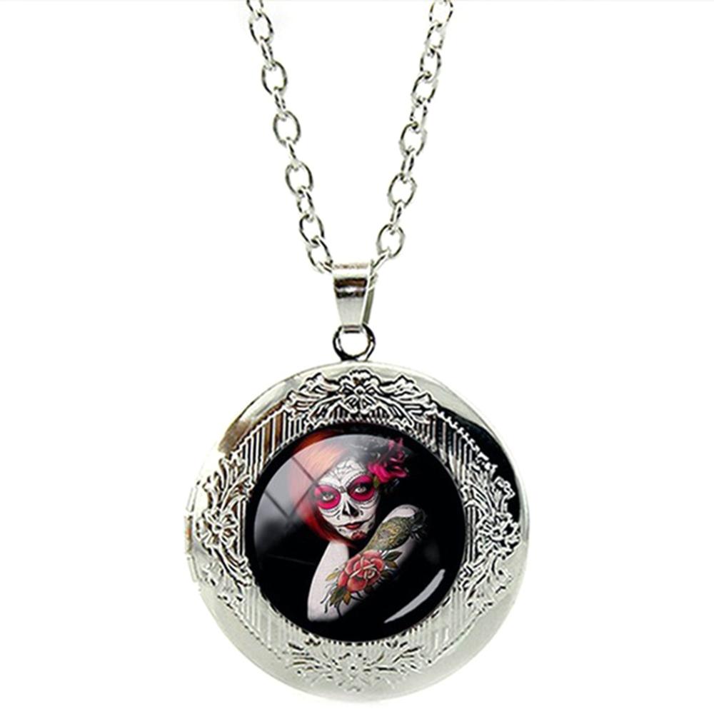 Pendentif Médaillon La Catrina Tête de Mort Mexicaine Fleur Rose Rouge Chaîne Réglable
