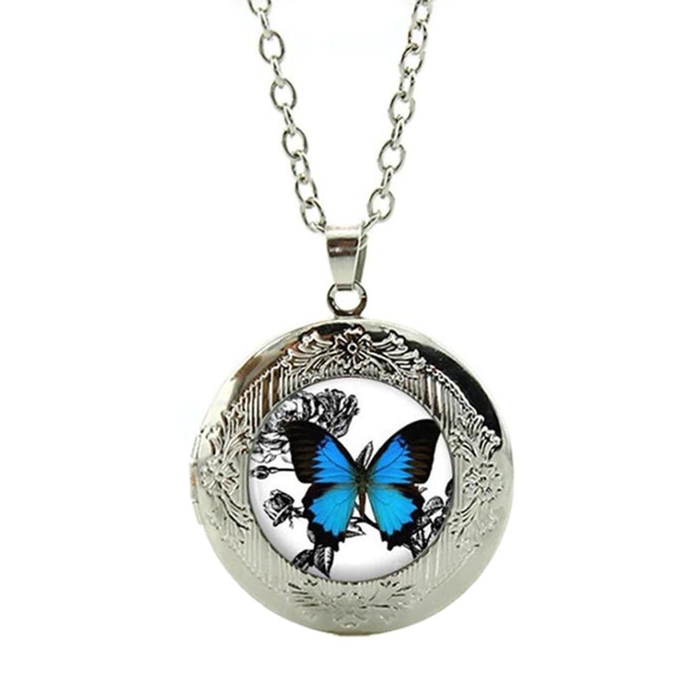 Pendentif Médaillon Papillon Rose Chaîne Réglable