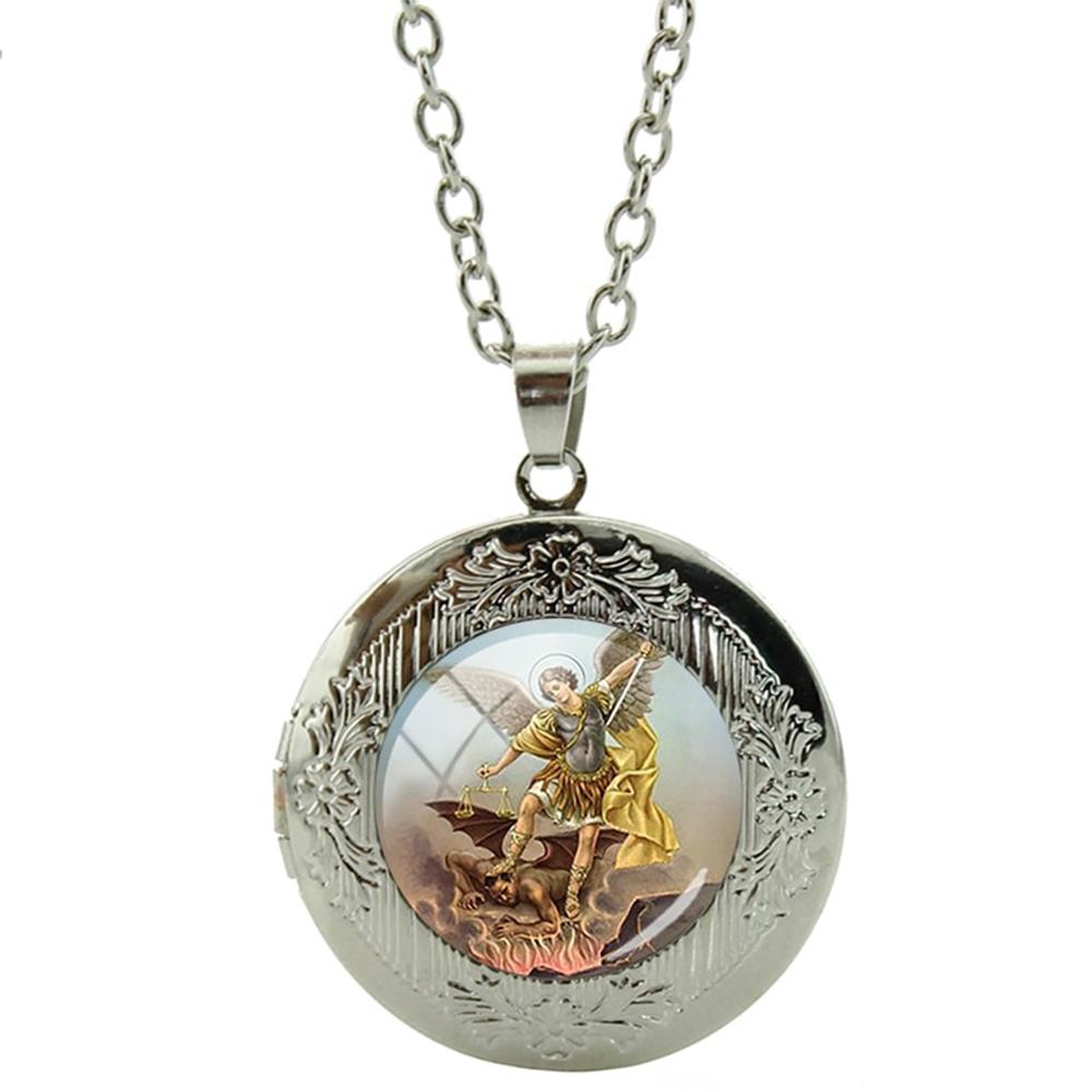 Pendentif Médaillon Archange Saint Michel Auréole Chaîne Réglable
