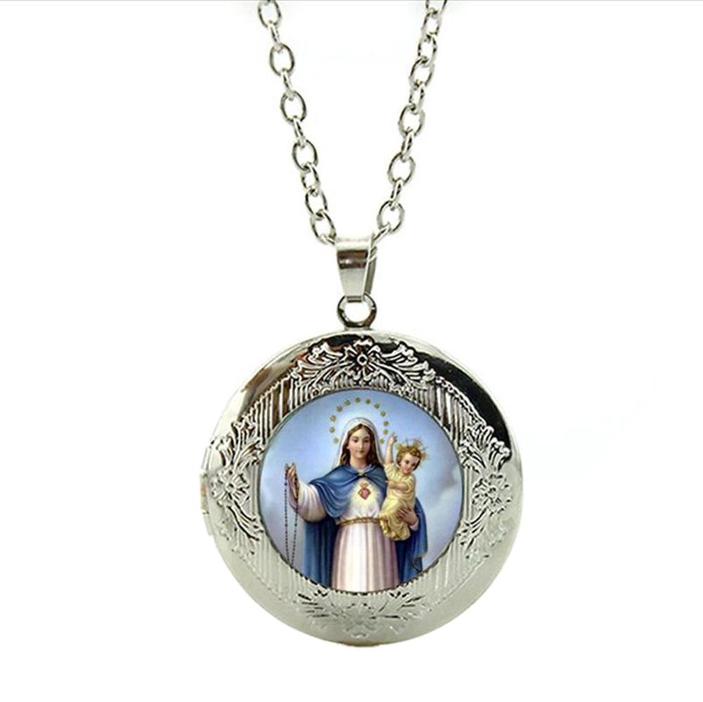 Pendentif Médaillon Vierge Marie Jésus Chaîne Réglable