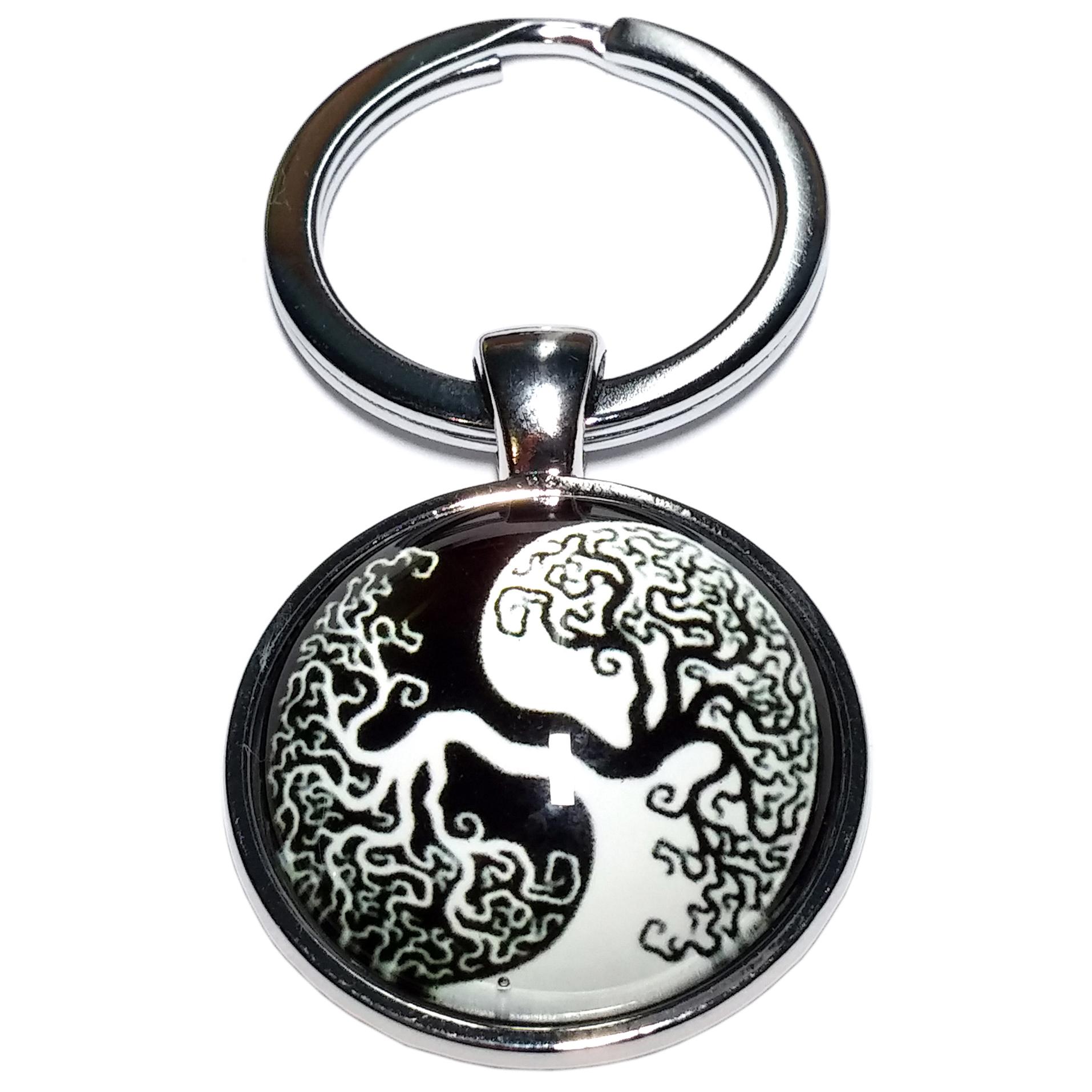 Porte clé métal arbre de vie yin yang noir et blanc