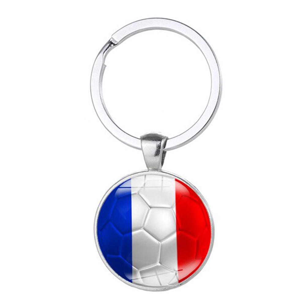Porte clé métal ballon de foot France bleu blanc rouge