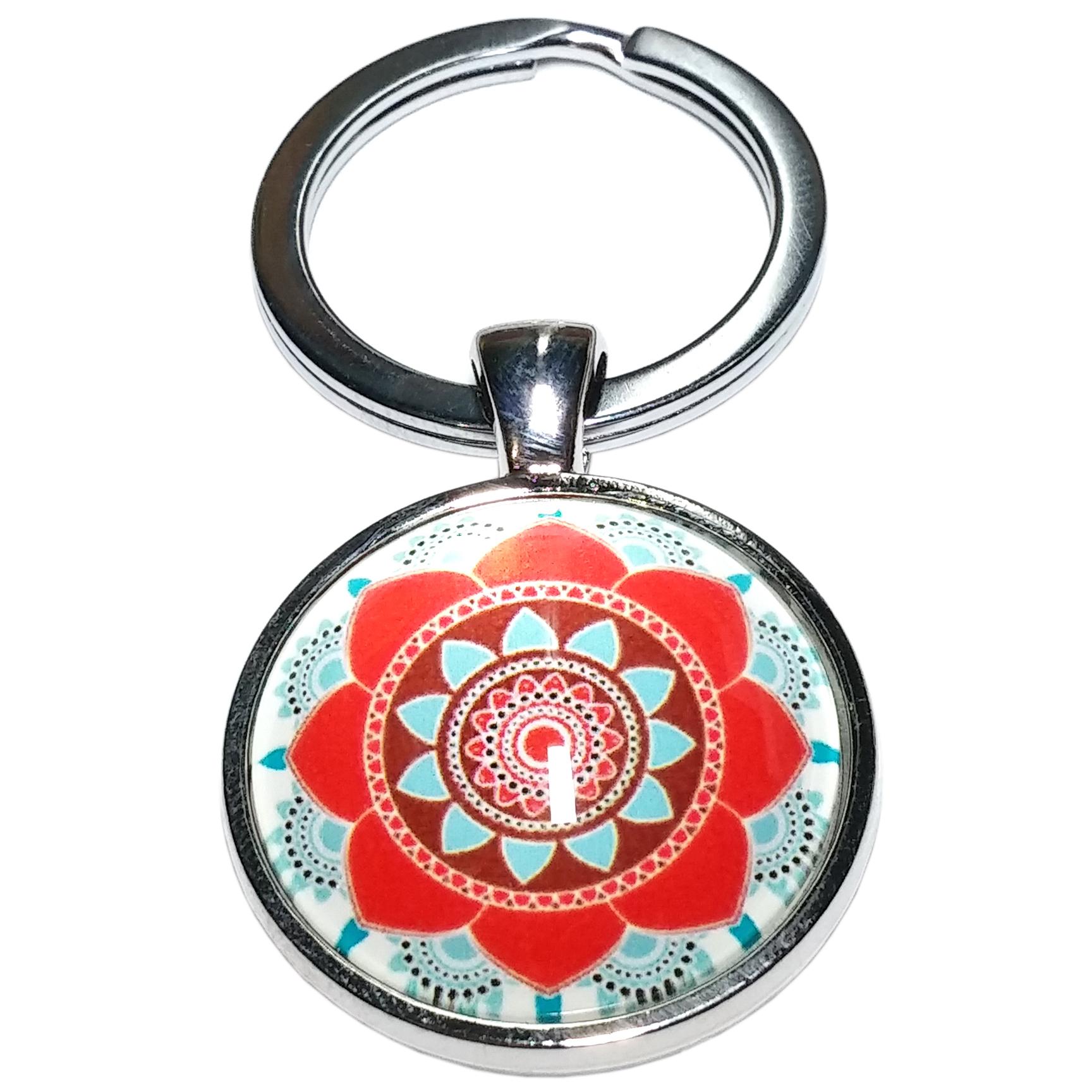 Porte Clé Métal Bouddhiste Mandala Fleur Rouge