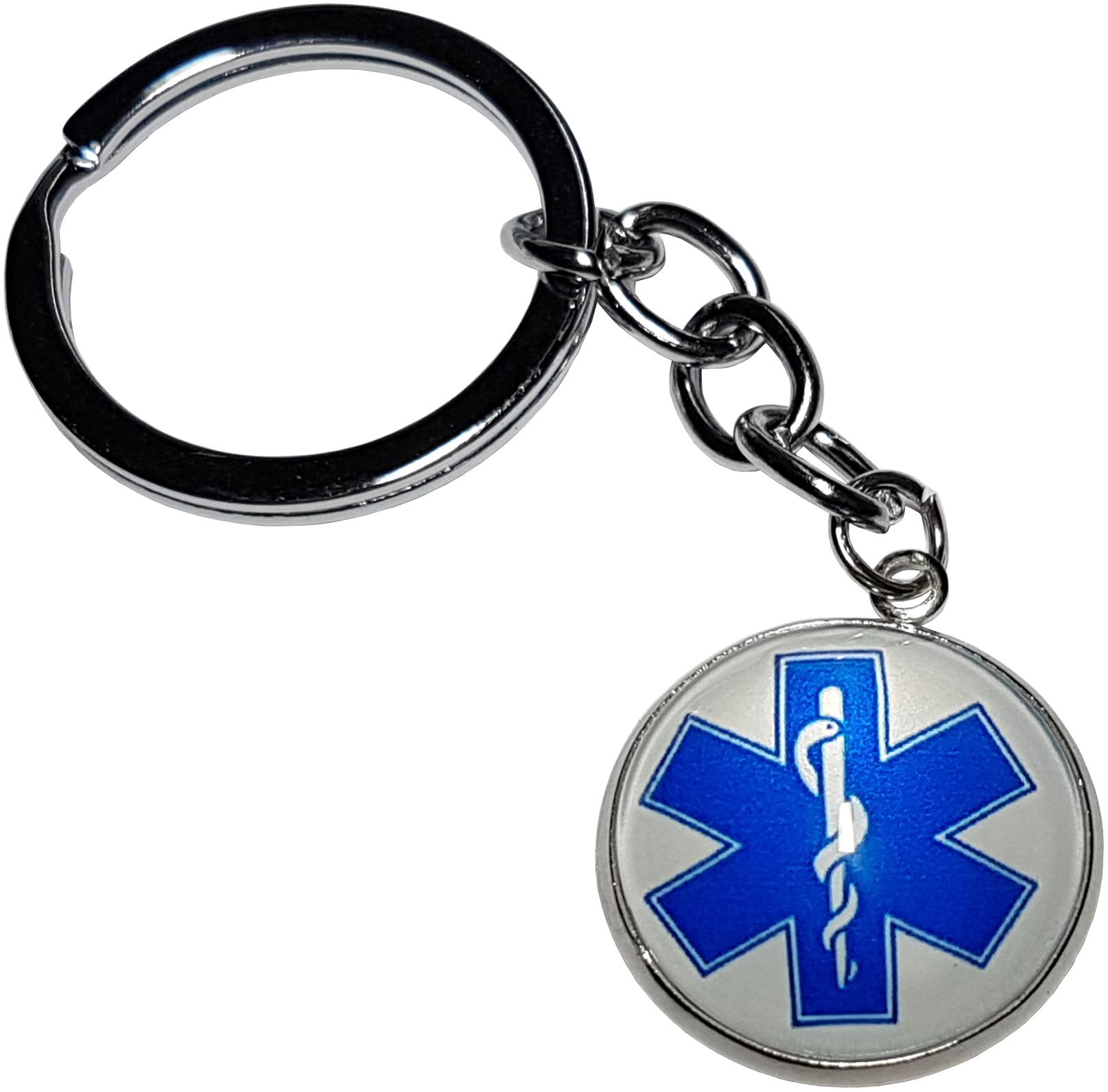 Porte Clé Métal Étoile de Vie Ambulancier