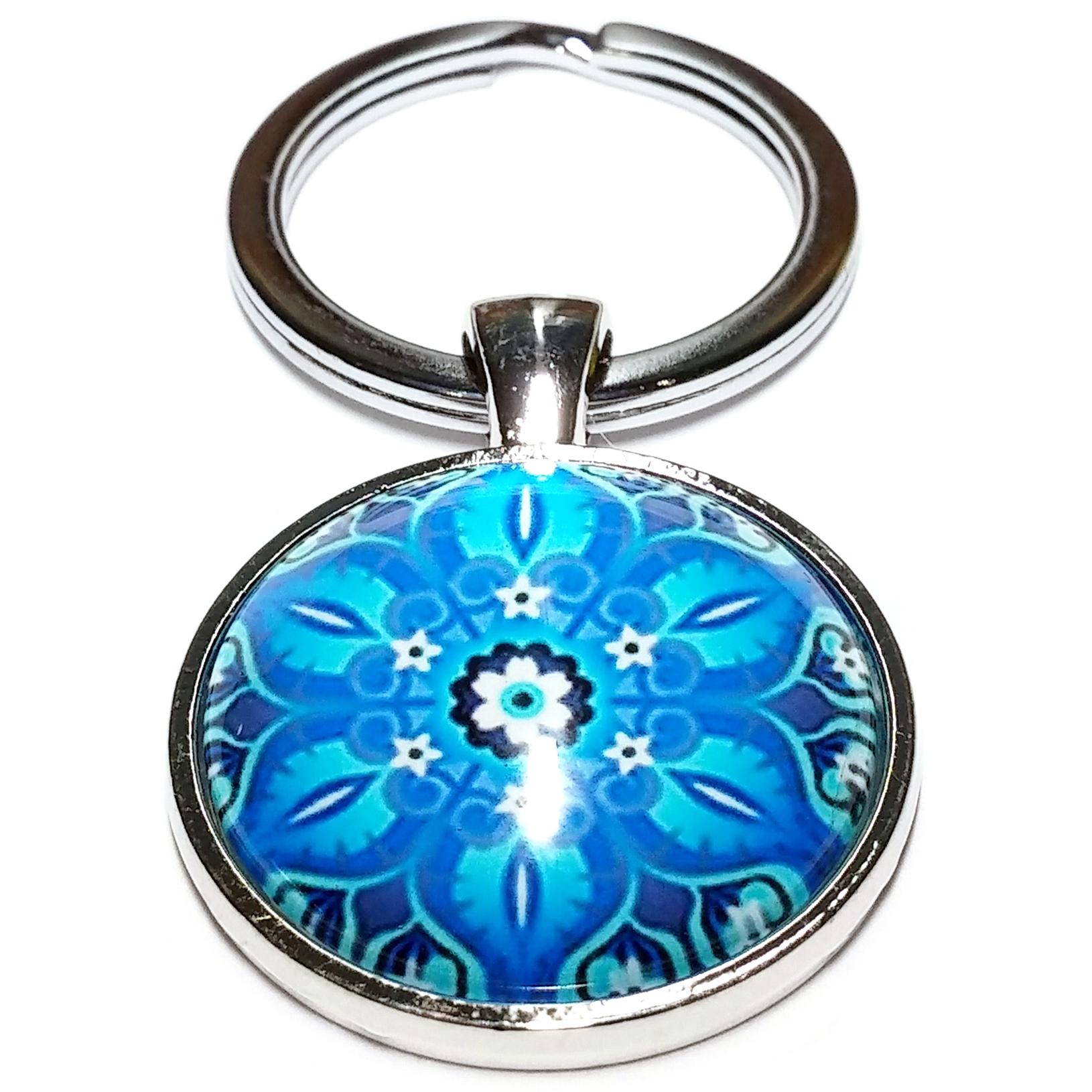 Porte Clé Métal Bouddhiste Mandala Fleur Bleu