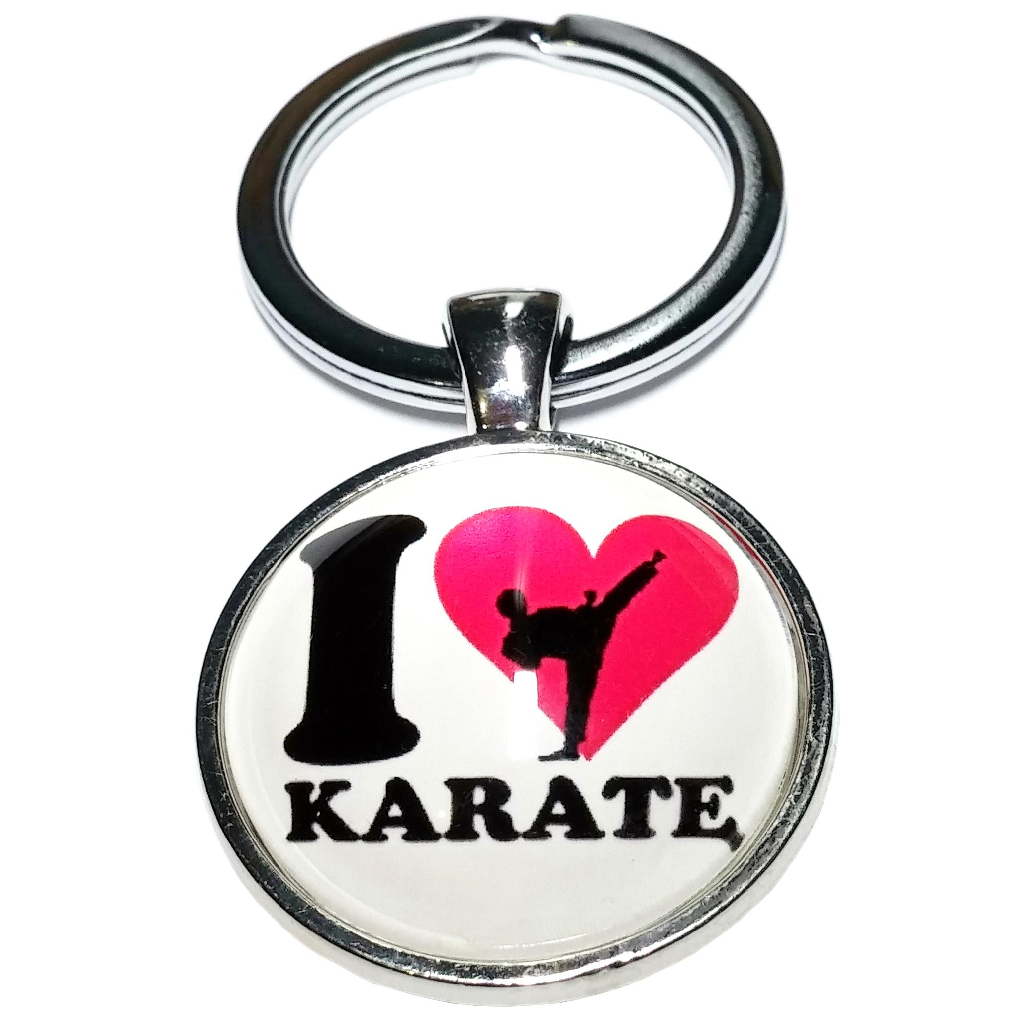 Porte Clé Métal I Love Karaté
