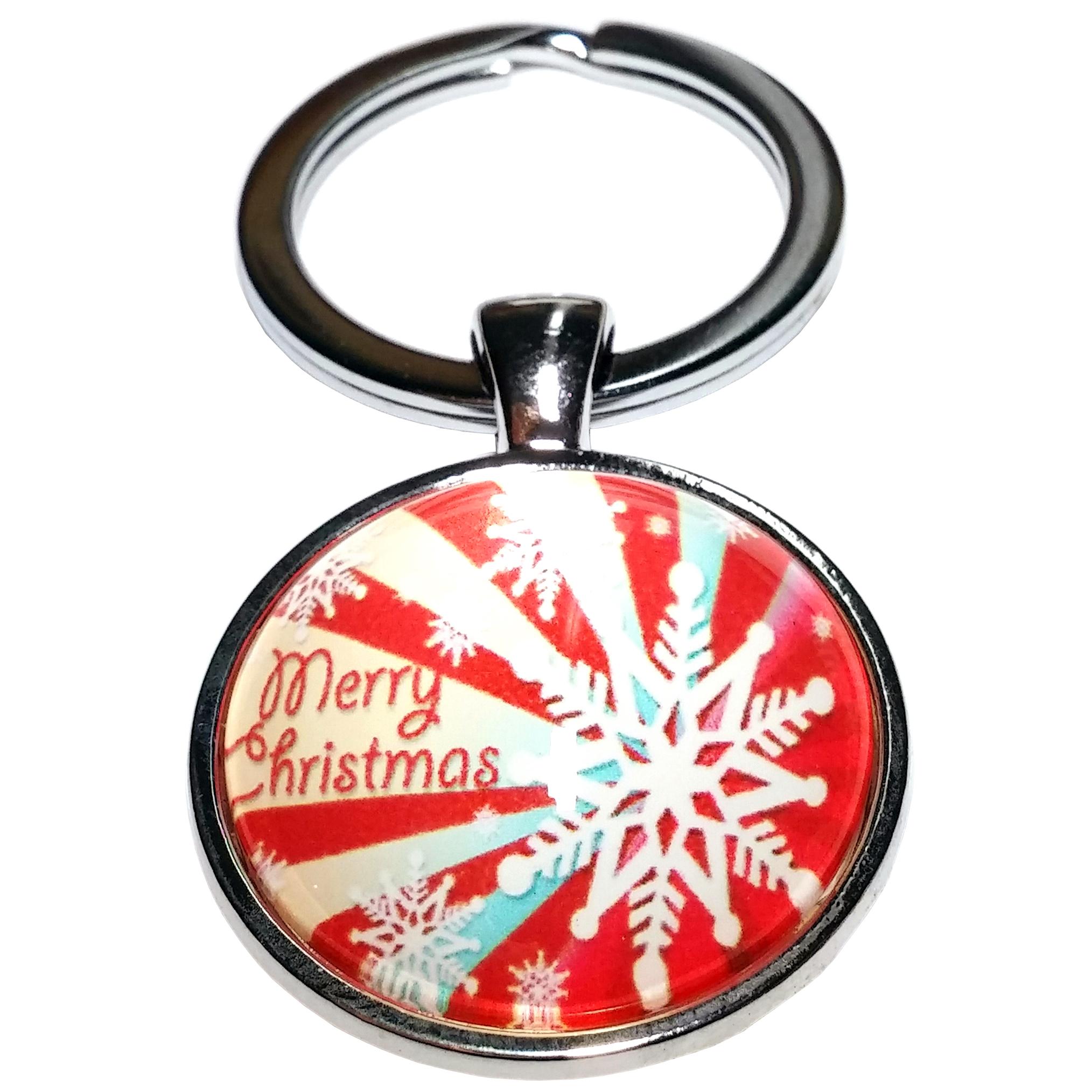 Porte Clé Métal Noël Merry Chtistmas Flocon de Neige