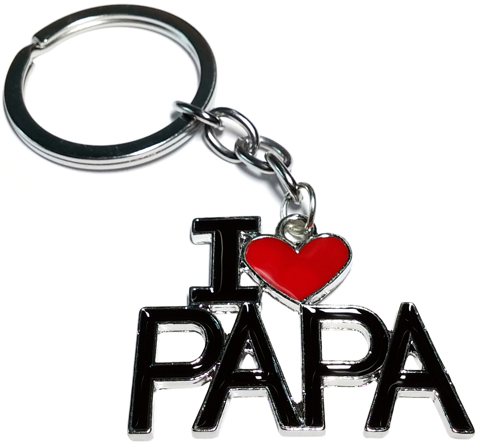Porte Clé Métal I Love Papa Coeur Rouge