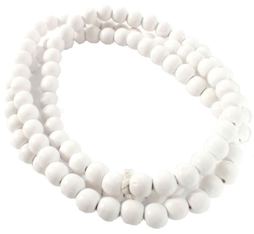 Collier en Bois Perles Blanches de 8mm