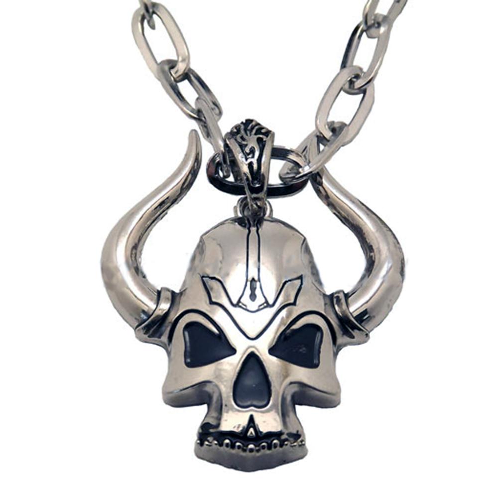 Collier Pendentif Acier Inoxydable Skull Corne Démon