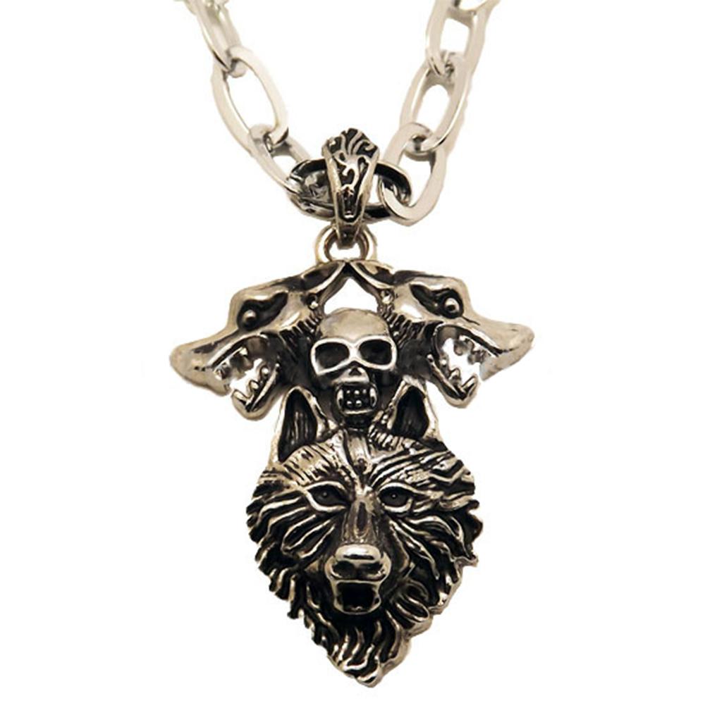 Collier Pendentif Acier Inoxydable Loups Crânes Skulls