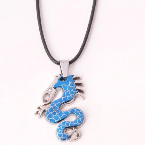 Collier Pendentif Acier Inoxydable Dragon Chinois Bleu Oeil CZ