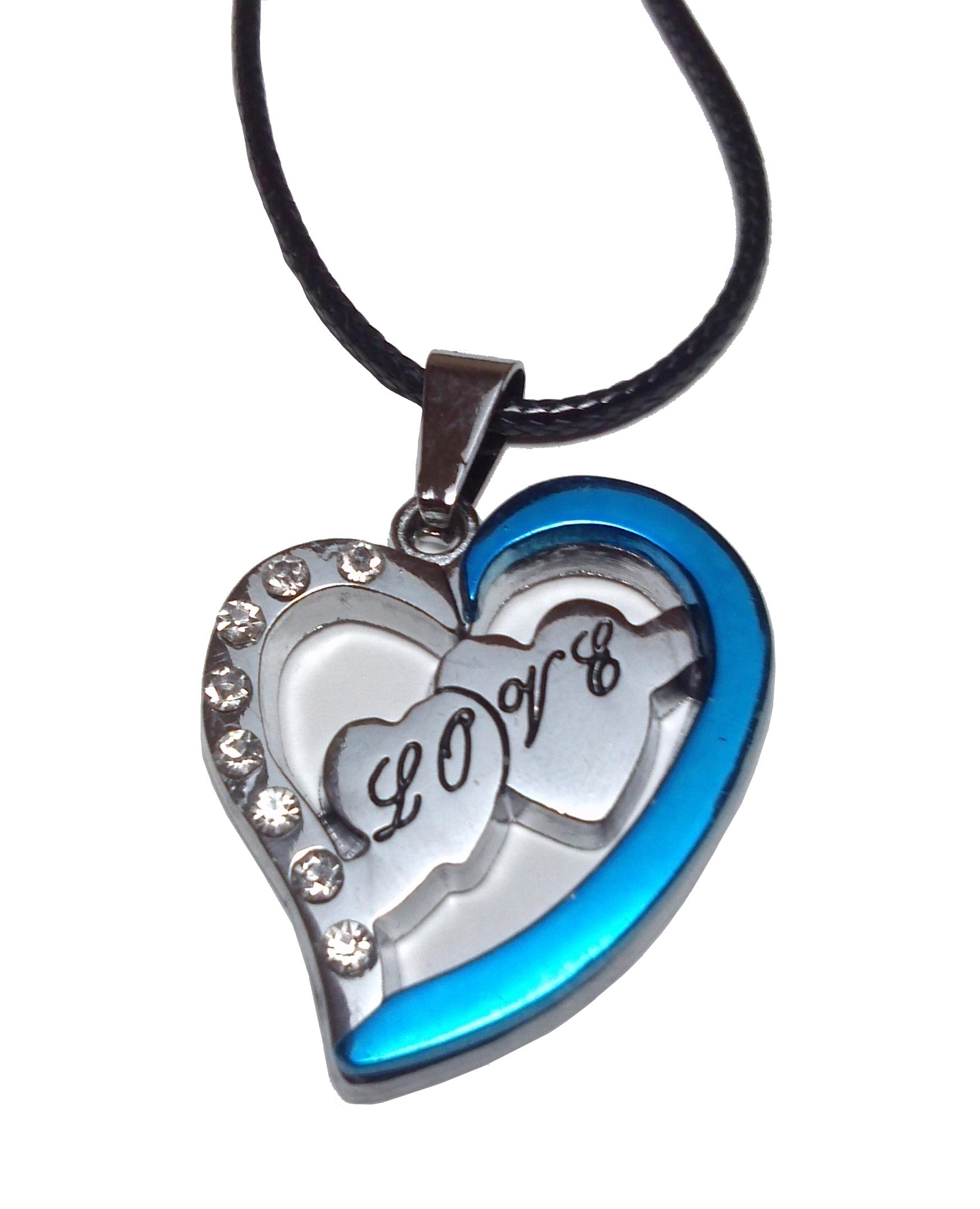 Collier Pendentif Acier Inoxydable Coeur Bleu Cubic Zirconia