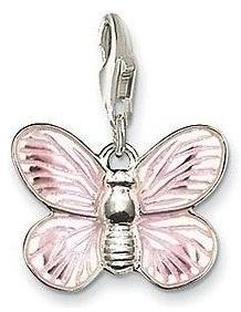 Pendentif Charm Argent Papillon Nuit Rose