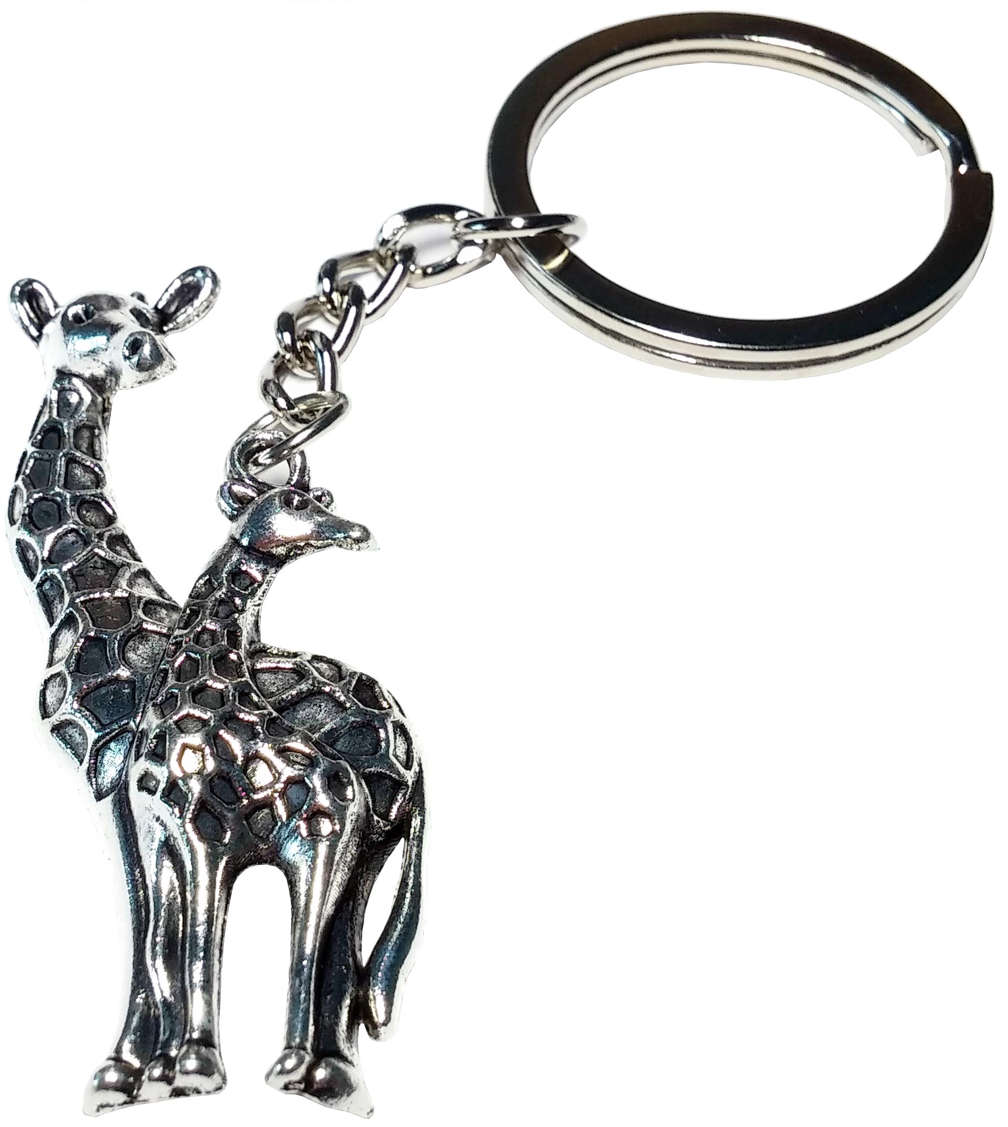 Porte clé métal girafe mère bébé dessous