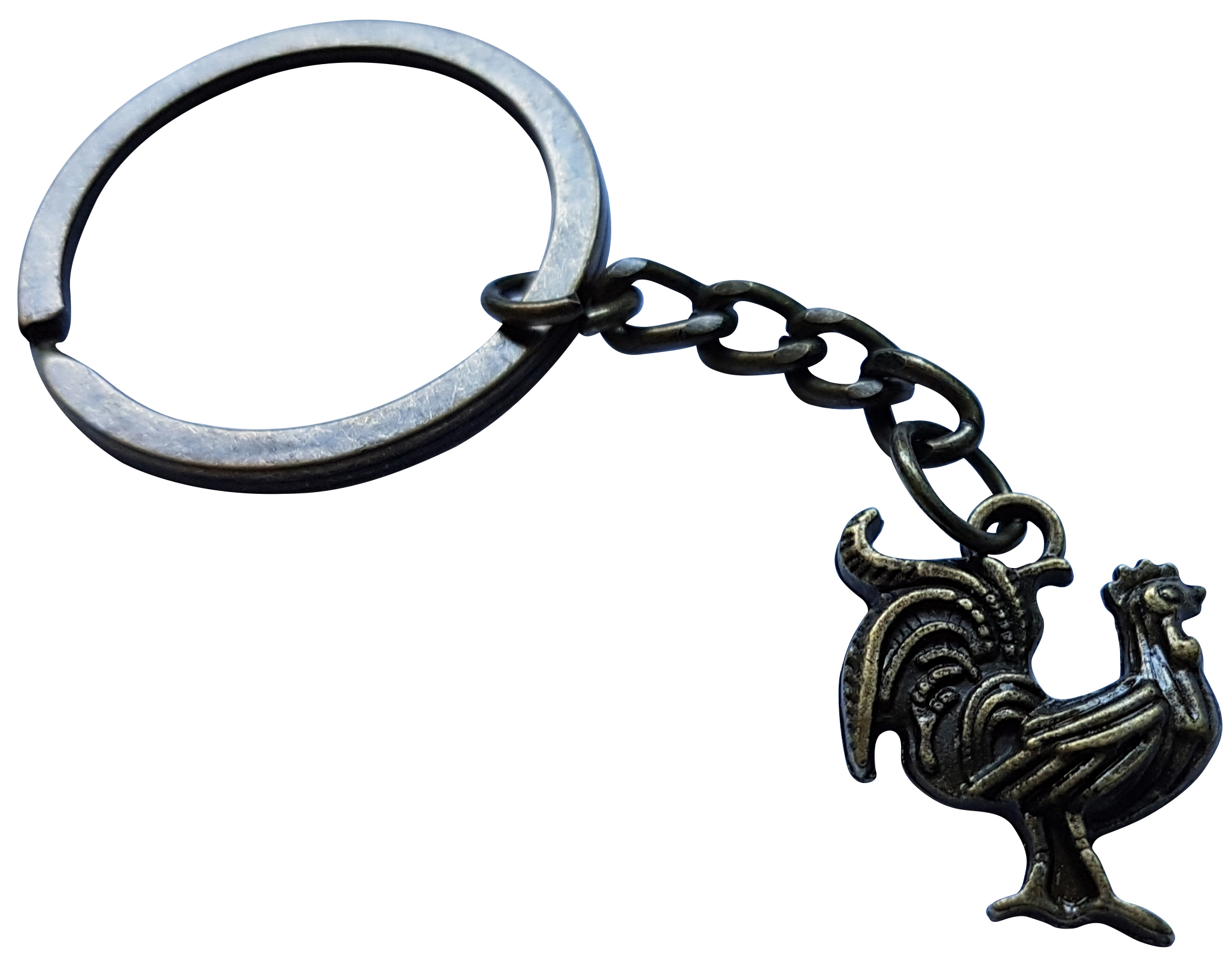Porte clé métal coq