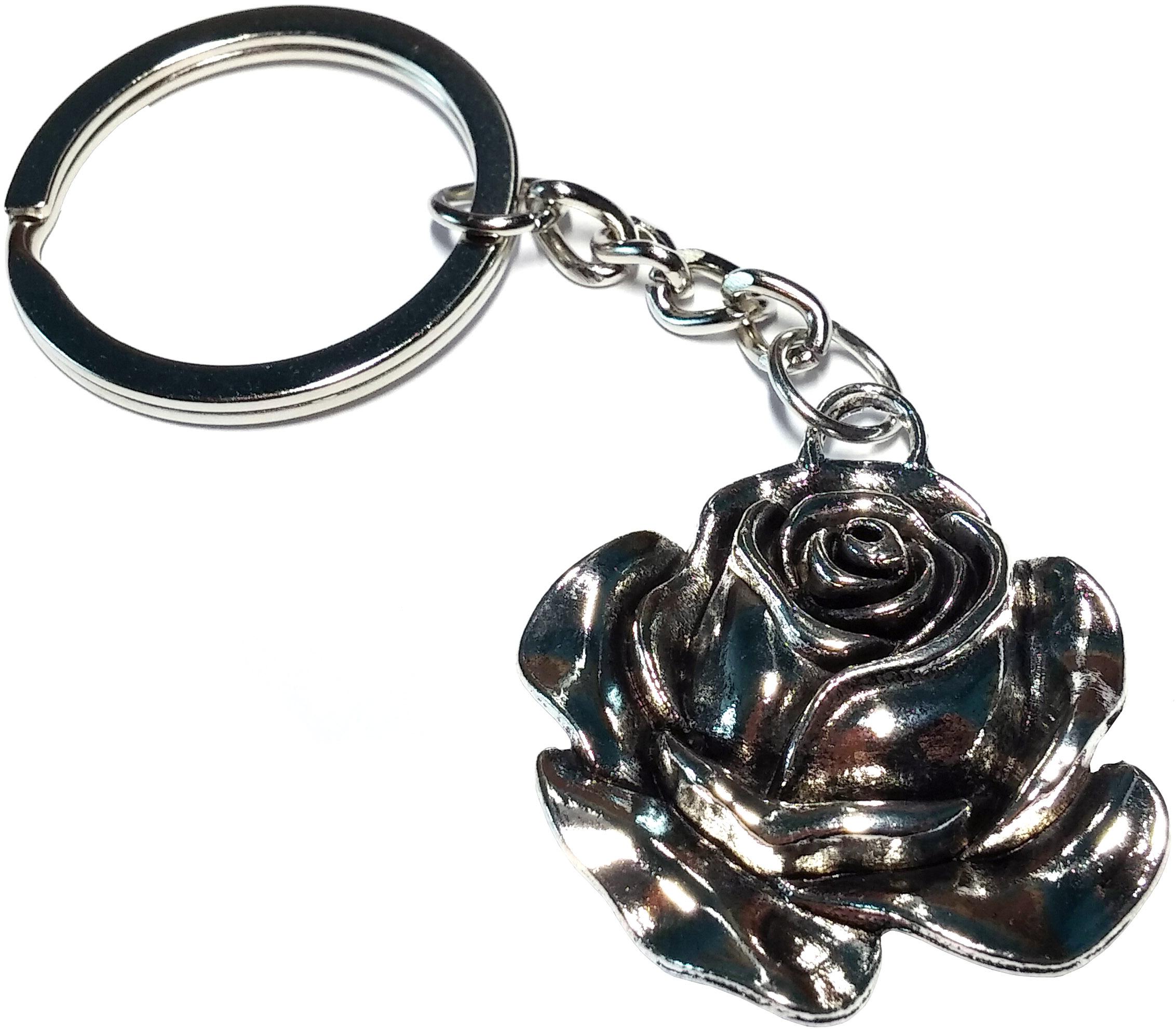 Porte Clé Métal Fleur Rose
