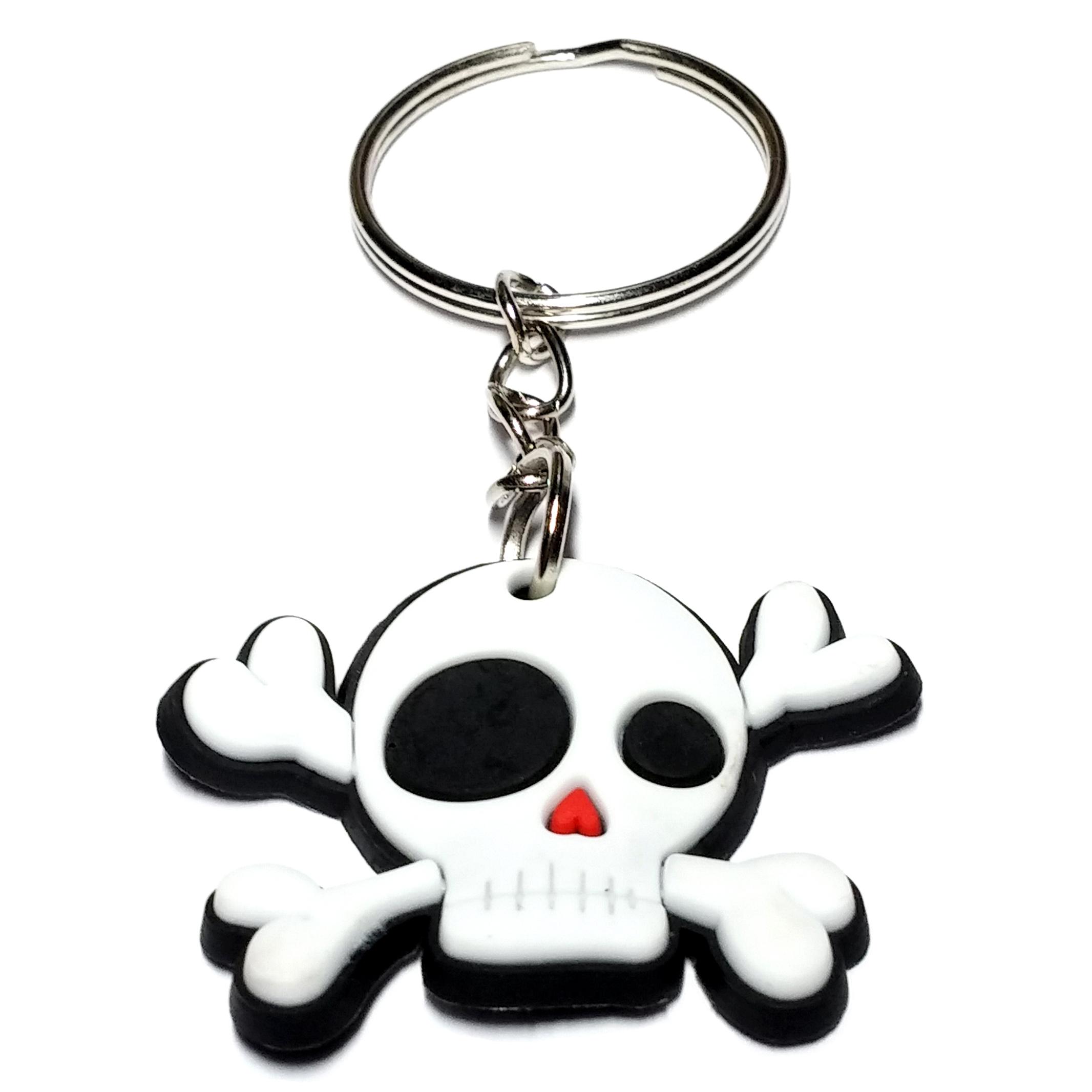 Porte Clé Plastique Tête de Mort Pirate Cartoon