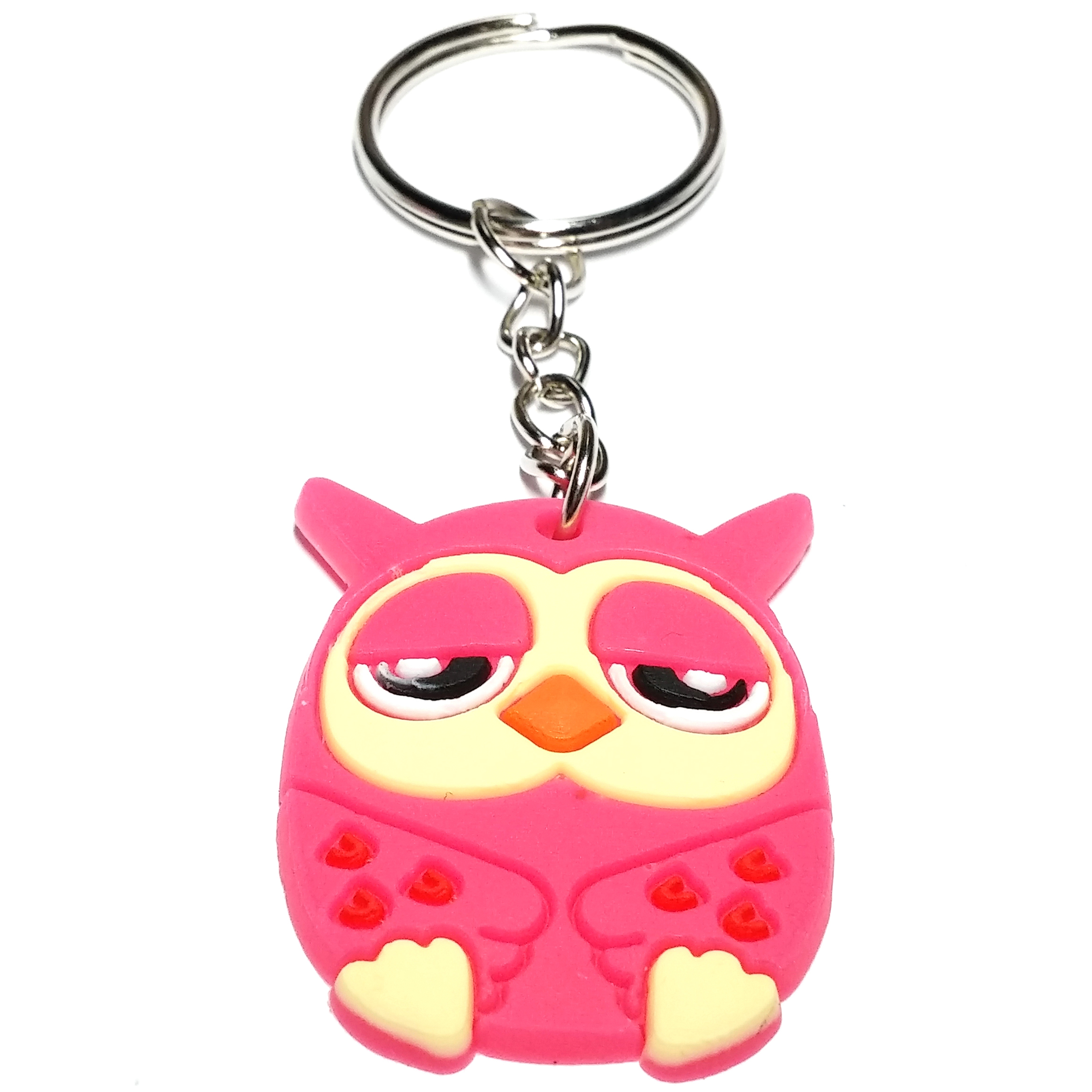 Porte clé plastique chouette cartoon rose