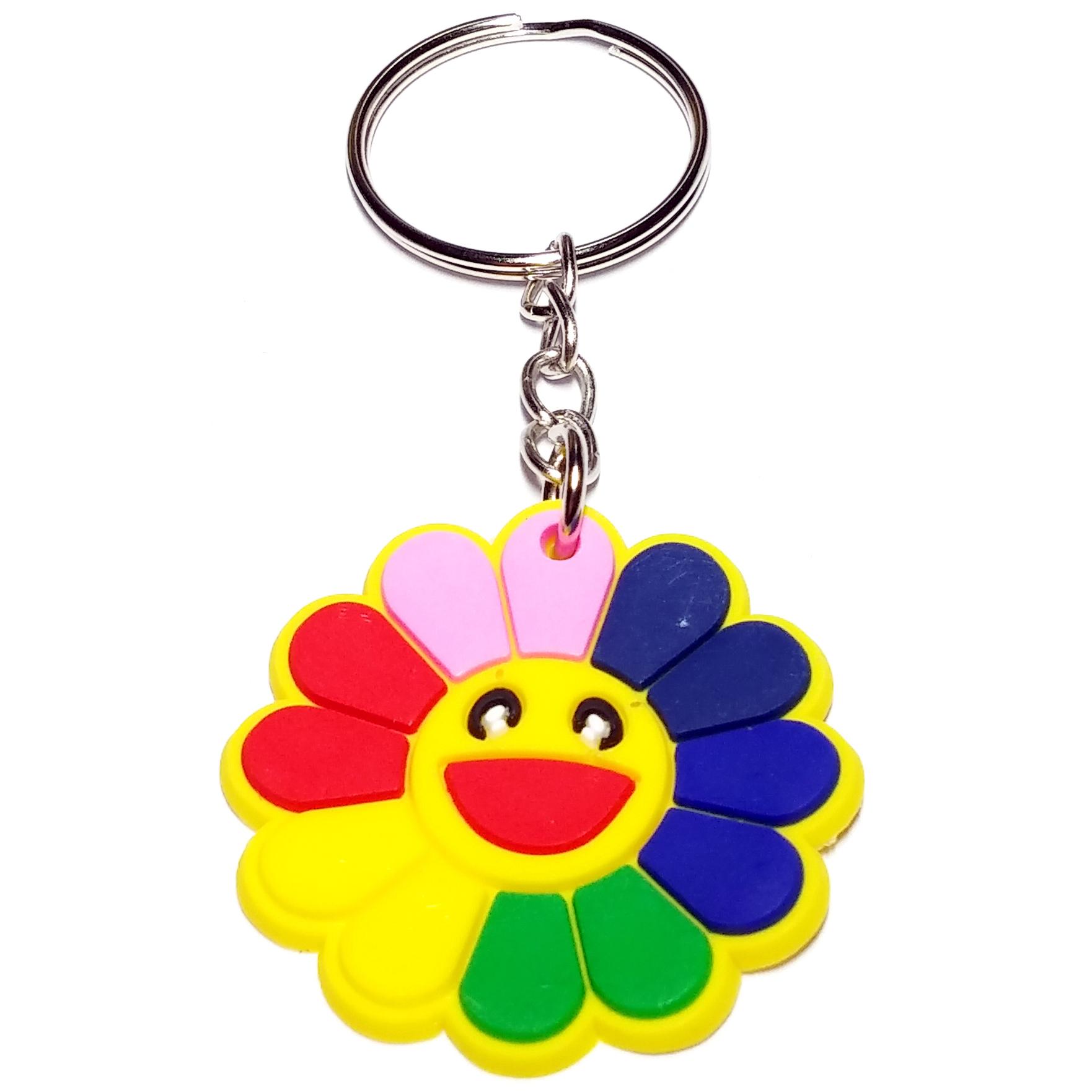 Porte Clé Plastique Fleur Multicolore Sourire Cartoon