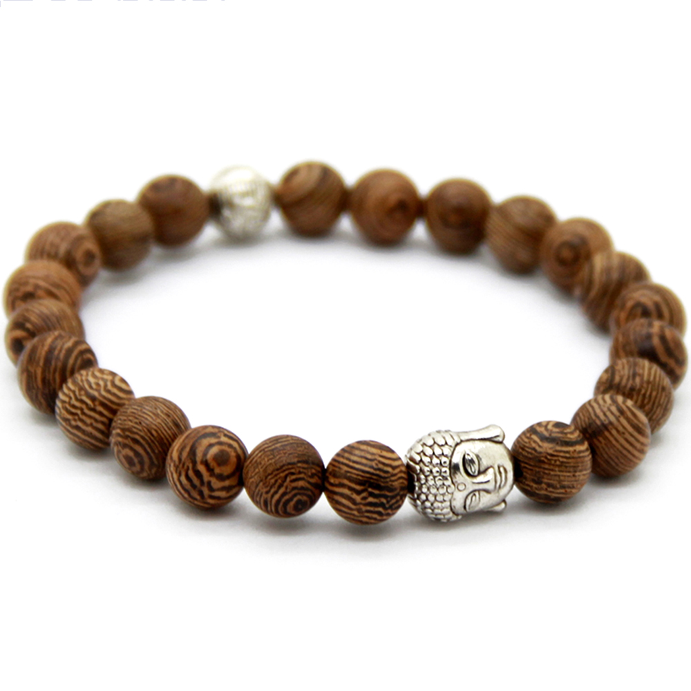 Bracelet Bois Marron Tête de Bouddha