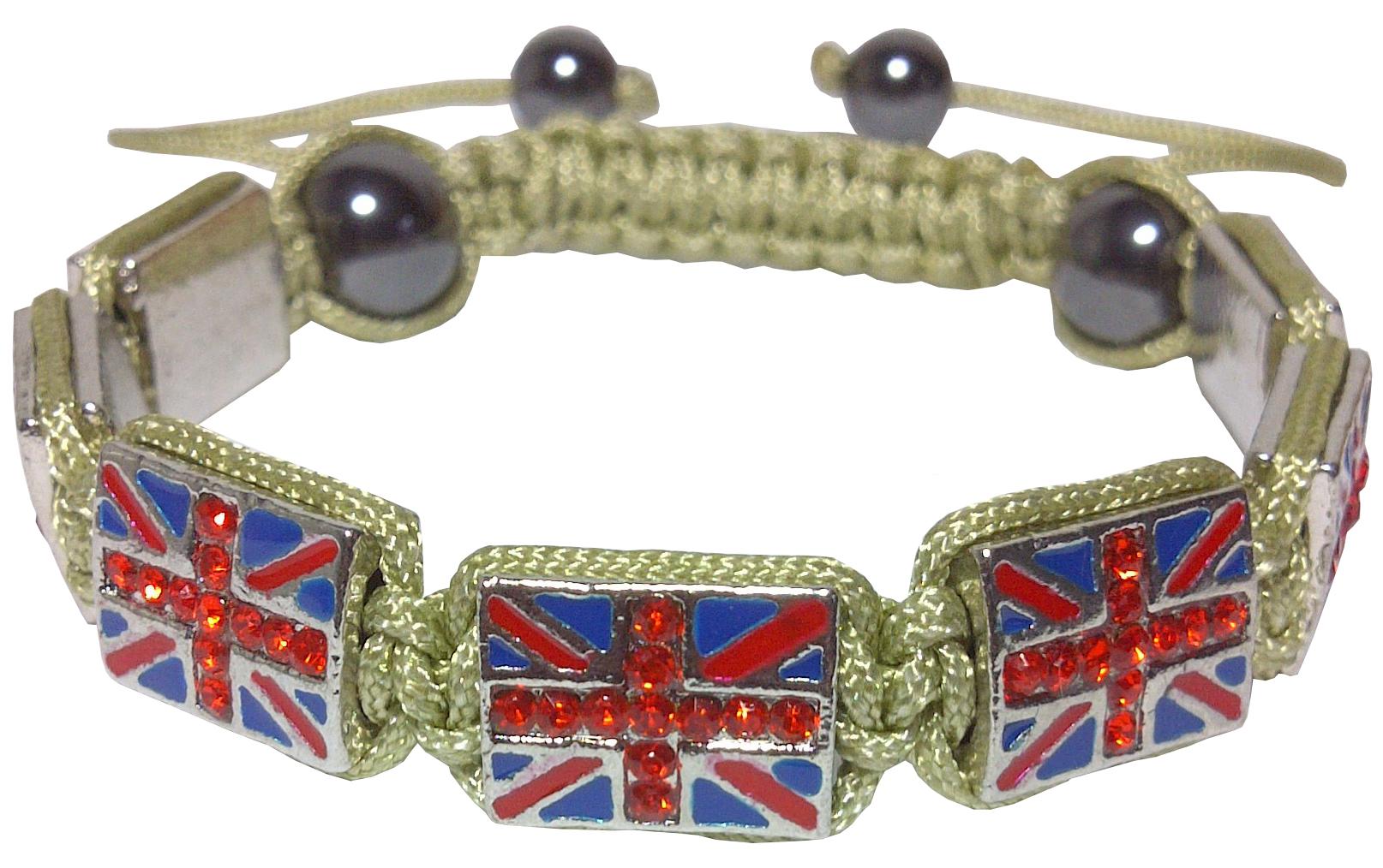 Bracelet Shamballa Beige Drapeau Royaume-Uni